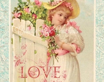 Vintage Valentine Love Large digital download Pink ROSES romantic single image ECS buy 3 get one free