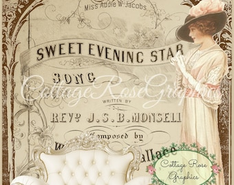 Vintage Music cover digital lady pink roses old music typography digital download cottage chic Buy 3 get one FREE