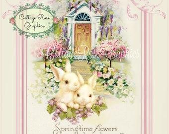 Vintage Springtime Bunnies digital download ECS buy 3 get one free  single image svfteam