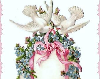 Vintage Doves Easter egg forget me nots Pink Ribbons digital download ECS buy 3 get one free romantic single image svfteam