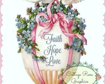 Vintage Faith Hope Love Easter egg forget me nots Pink Ribbons digital download ECS buy 3 get one free romantic single image svfteam