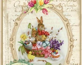Vintage Easter Bunny in a basket  of eggs digital download ECS buy 3 get one free romantic cottage single image svfteam