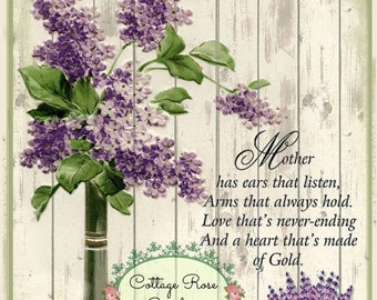 Lilacs and Lavender Mother's Day digital download ECS buy 3 get one free romantic cottage single image