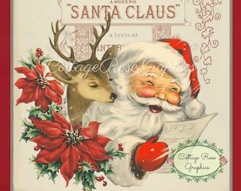 Santa with Reindeer Retro Red digital download  ECS buy 3 get one free  single image
