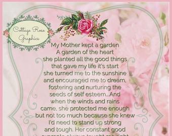Pink Mothers Garden verse collage Pink Roses Large digital download BUY 3 get one FREE ecs svfteam