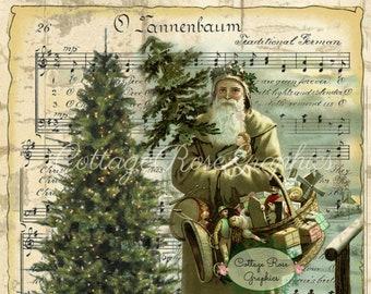 Vintage Santa O'tannebaum  Music Christmas digital download ECS buy 3 get one free rdtt