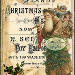 Vintage Victorian Santa Large digital download Christmas typography ATC ACEO ECS buy 3 get one free