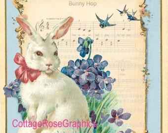 Vintage EASTER bunny hop digital download ECS buy 3 get one free Pink ROSES romantic cottage single image sfvteam