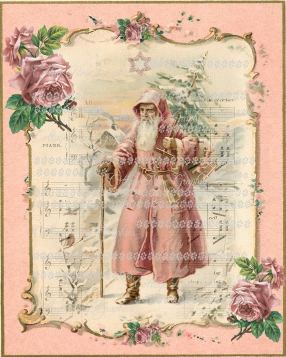 Immagini Natale Vintage Gratis.Santa Vintage Natale Rosa Vittoriana Con Rose Grande Digitale Scarica Ecs Acquistare 3 Ottieni Uno Gratis