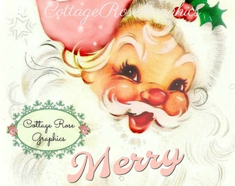 Pink Shabby Retro Santa with Merry Christmas text digital download ECS buy 3 get one free