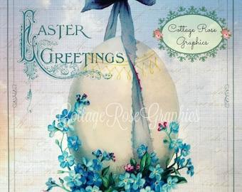 Vintage Easter egg forget me nots Blue Ribbons digital download ECS buy 3 get one free romantic single image svfteam