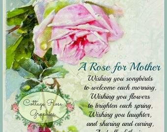 Vintage Mother's Day collage Single Pink Rose Large digital download BUY 3 get one FREE ecs svfteam