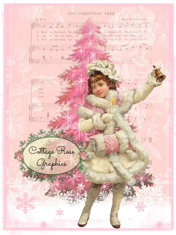 pink christmas tree girl with muff and bell large digital. Black Bedroom Furniture Sets. Home Design Ideas
