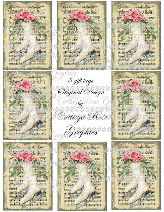 8 Etiquetas Vintage Estilo Victoriano Azul Navidad ATC//Toppers