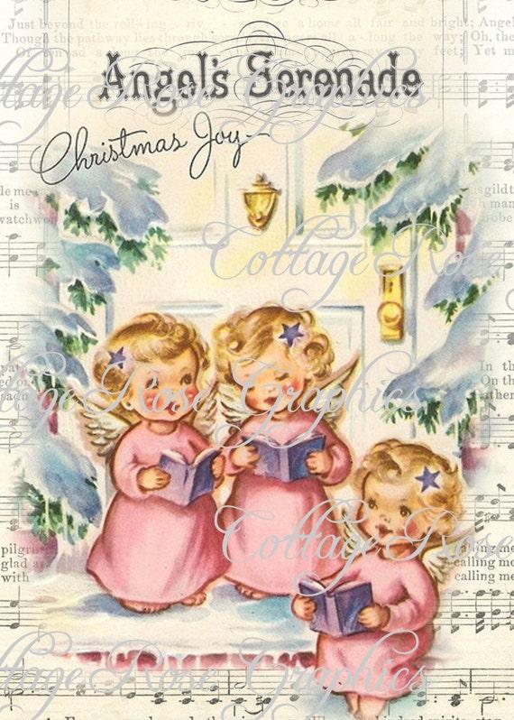 Immagini Natale Vintage Gratis.Rosa Angeli Di Natale Vintage Shabby Cottage Grande Digitale Scarica Ecs Acquistare 3 Ottieni Uno Gratis