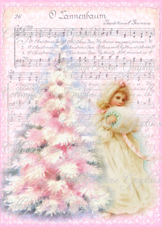 O Tannebaum PINK CHRISTMAS tree shabby cottage Roses Large   Etsy