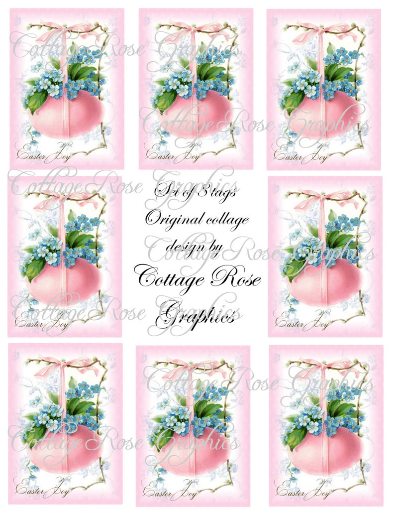 Digital EASTER JOY gift tags Pink Egg forget me nots download buy 3 get one  free ecs rdtt sfvteam