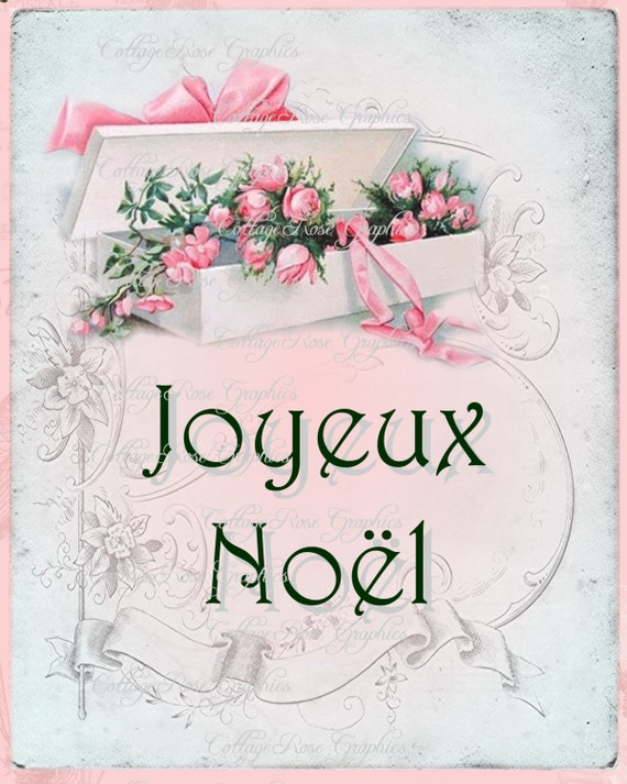foto de Pink Christmas French Joyeux Noel Vintage Box of Pink roses | Etsy