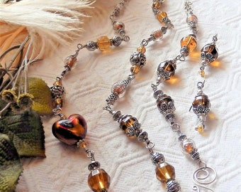 One of a Kind Artisan Crafted Sterling Silver Lampwork Glass Heart Crystal Jewelry Set