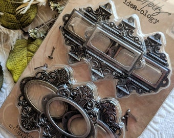Tim Holtz Idea-ology Ornate Brass Metal Decorative Frame or Bookplates