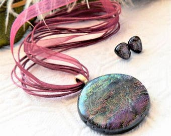 One of a Kind Artisan Crafted Dichroic Glass Necklace & Earrings Set