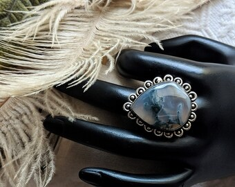 Artisan Crafted Large Unique Sterling Silver Blue Moss Agate Ring Size 7 1/2