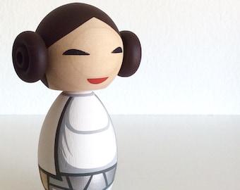 Star Wars inspired Princess Leia kokeshi doll