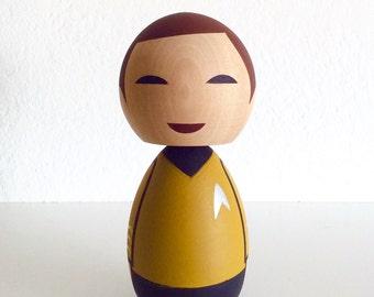 Star Trek inspired Captain Kirk kokeshi doll