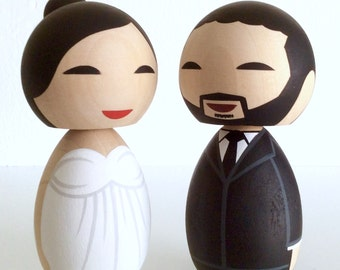 Wedding kokeshi doll cake topper set. Fully customizable.