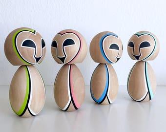Owl kokeshi doll. Free domestic shipping !