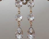 Vintage Clear Crystal Swarovski Drop Earrings Rivoli Cut with Pear Shape Drops Dangle Earrings Vintage Swarovski Earrings Leverbacks