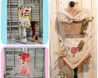Mannequin Dress Form PDF Pattern - Pincushion Pin Keep primitive pinkeep cushion sewing supply prim needles