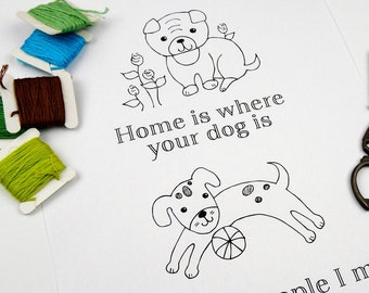 Puppy Dog Stitchery PDF Pattern - embroidery sheet easy simple pug mutt home