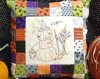 Halloween pumpkin man embroidery Pattern PDF - WITCH  prim stitchery primitive patchwork pillow