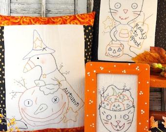 Spooktacular stitcheries PATTERN PDF - halloween primitive pillow pumpkin