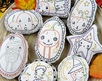 Halloween spirit Ornaments embroidery Pattern PDF - WITCH  prim stitchery primitive ornies Frankenstein bowl fillers