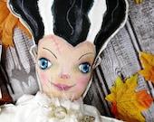 Bride of Frankenstein painted doll - Halloween monster prim primitive dolly art blue eyes OOAK
