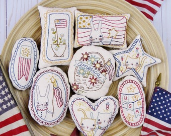 Patriotic spirit Ornaments embroidery Pattern - PDF stitchery independence day primitive ornies bowl fillers hudsons holidays