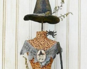 Halloween Witch Mannequin Dress Form Pattern PDF -  primitive