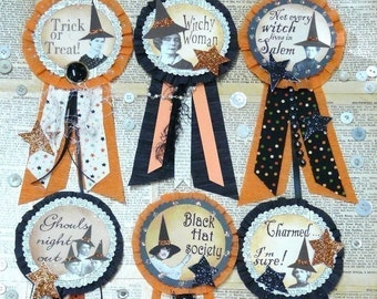 Halloween WITCH Art Pins Badges PDF PATTERN  - doll jewelry ribbon paper crepe star primitive salem ghouls witchy altered party