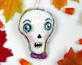 Halloween skull painted ornament - skeleton prim primitive folk art