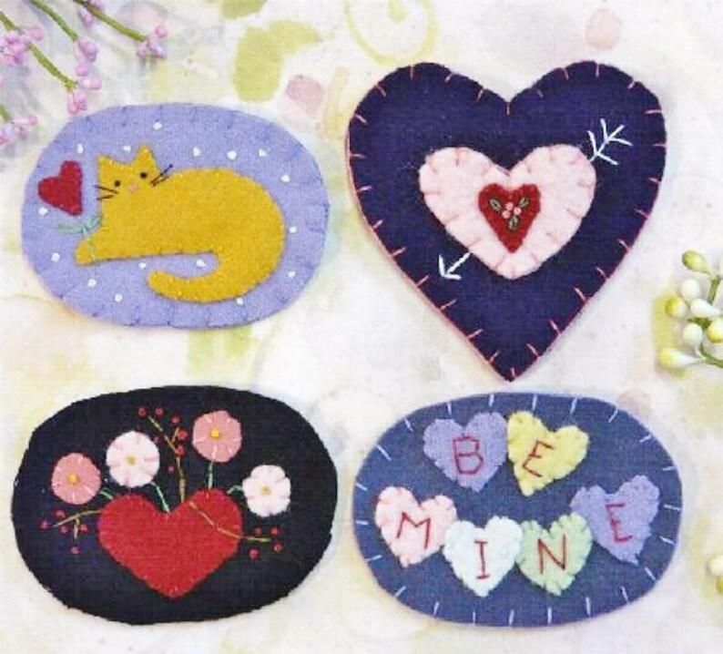 Sweet Valentine Wool Pins Pattern Pdf Heart Kitty Cat Etsy