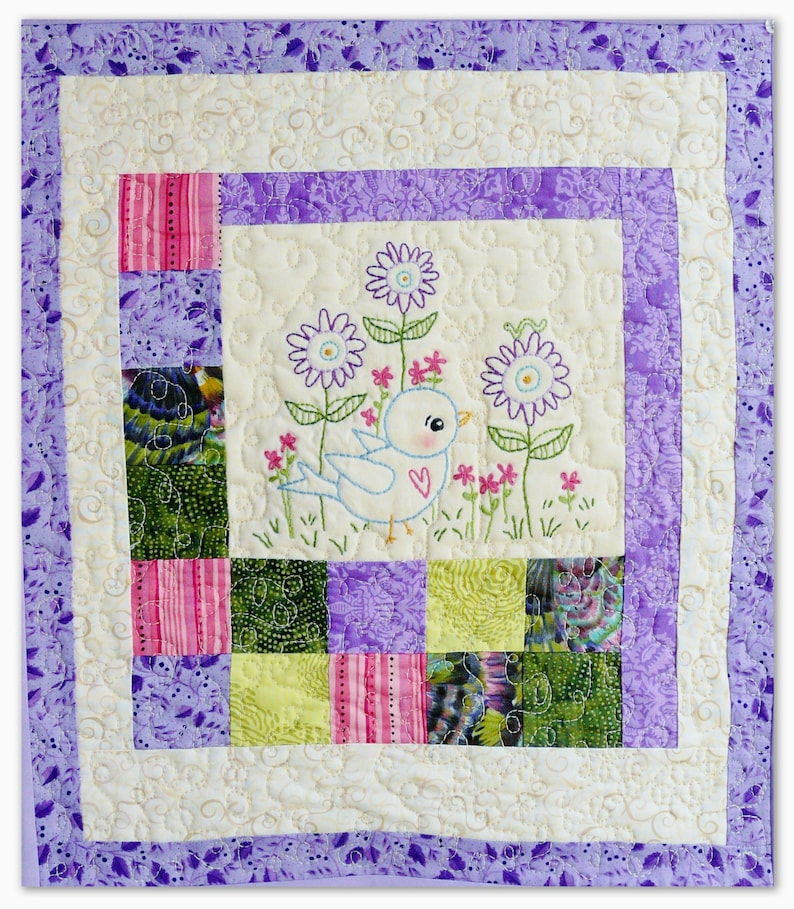 Blue Bird of Happiness embroidery Pattern PDF  Quilt image 0