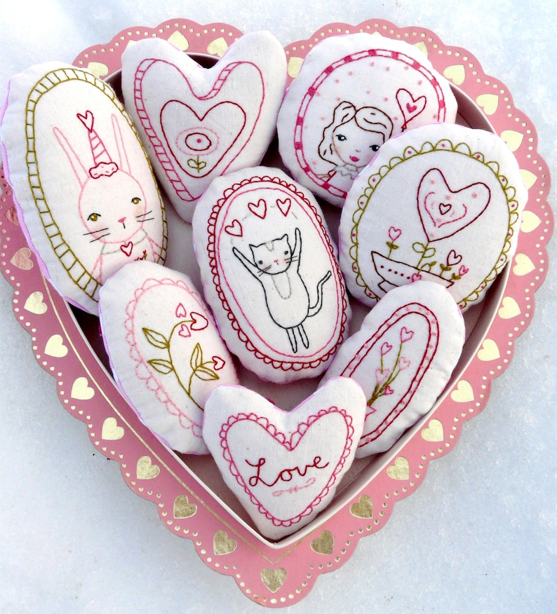Sweetest LOVE Ornaments embroidery Pattern  PDF Shabby chic image 0