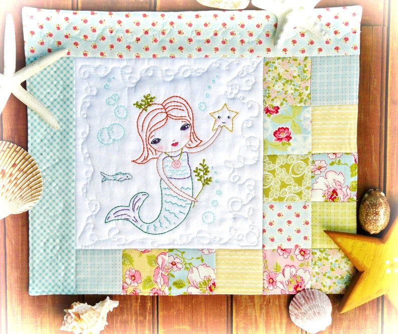 Merry Mermaid embroidery Pattern PDF  Quilt sea beach image 0