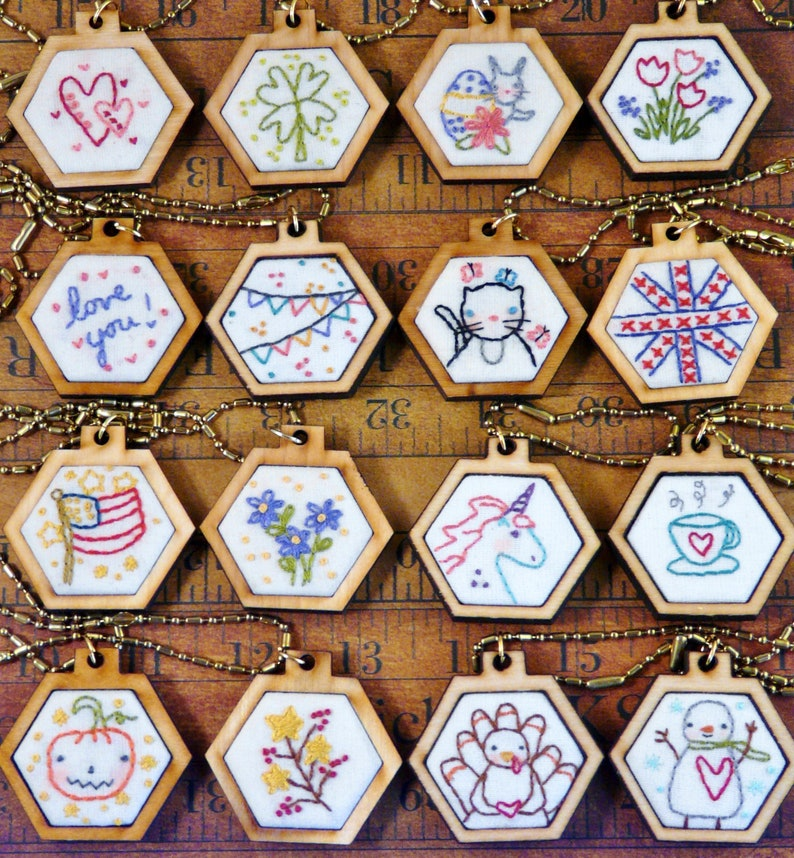 16 mini hexie pendant embroidery Pattern PDF   designs image 0