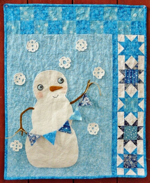 Winter Christmas Snowman Quilt Pattern Pdf Wish Upon A Etsy