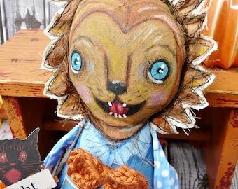 Wolf man painted doll -  animal monster prim primitive dolly art blue eyes werewolf wolfy wolfman