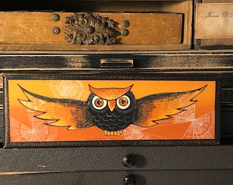 ORIGINAL Painting Acrylic on Canvas Vintage inspired HALLOWEEN Flying Owl