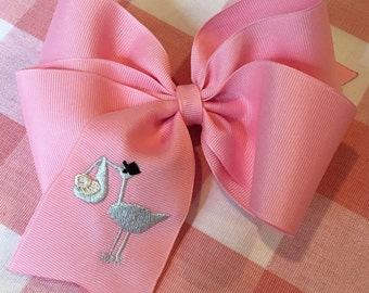 Embroidered Stork Big Sister Hair Bow New Baby Boutique Hair Accessory Clip CUTE